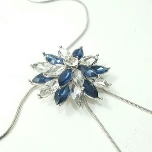 Long Statement Crystal Silver Accent Necklace